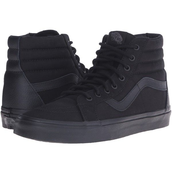 Vans SK8-Hi Reissue ((Mono T&L) Black) Skate Shoes ($70) ❤ liked on Polyvore featuring shoes, sneakers, print shoes, black sneakers, black leather sneakers, kohl shoes and skate shoes