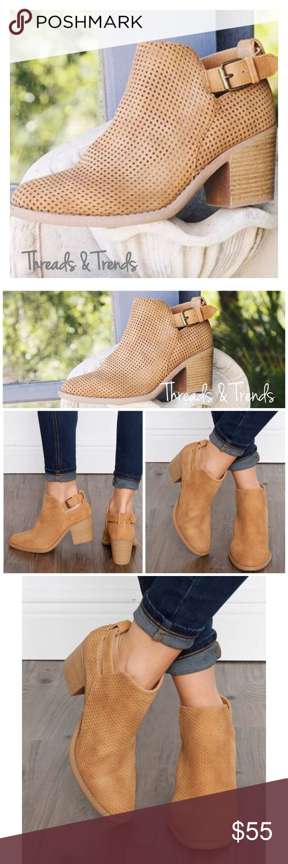 "‼️LAST PAIR‼️Taupe Suede Fringe Booties Taupe tan fringe booties.                                                      Material: Faux Suede (Man-Made) Heel Height: 1.75"" (Approx) Shaft Length: 6.35"" (Including heel) Top Opening 10.5"" Sole/padding: Synthetic Non-skid Sole Threads & Trends Shoes Ankle Boots & Booties"