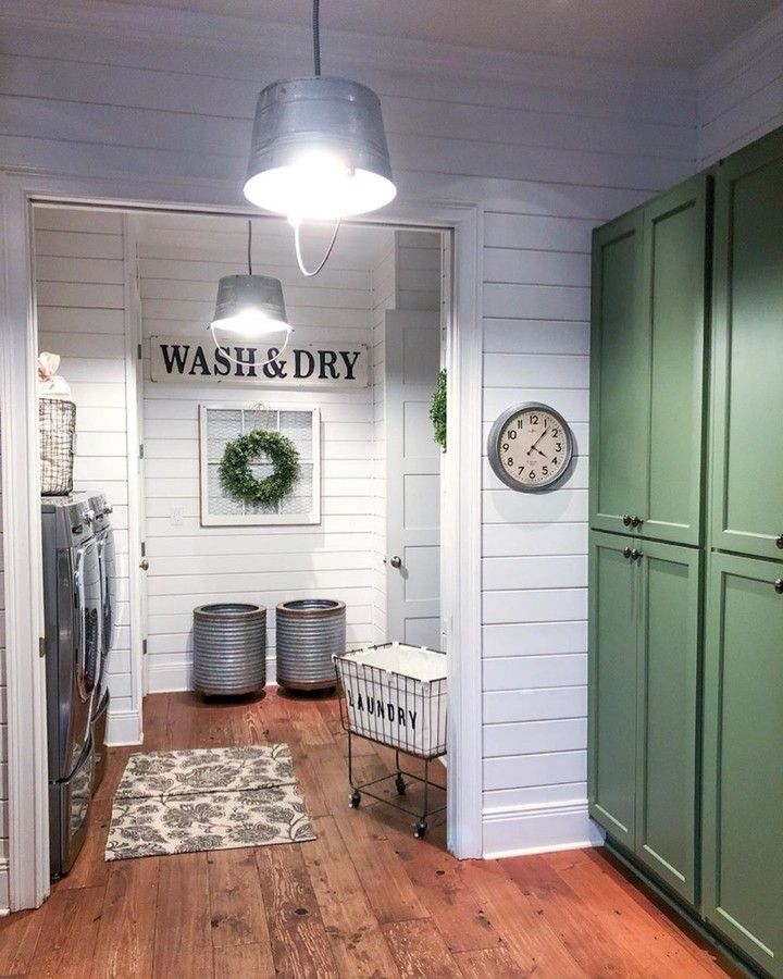"""Farmhouse Is My Style on Instagram: """"Incredible farmhouse laundry room.. galvanized metal buckets used as"""