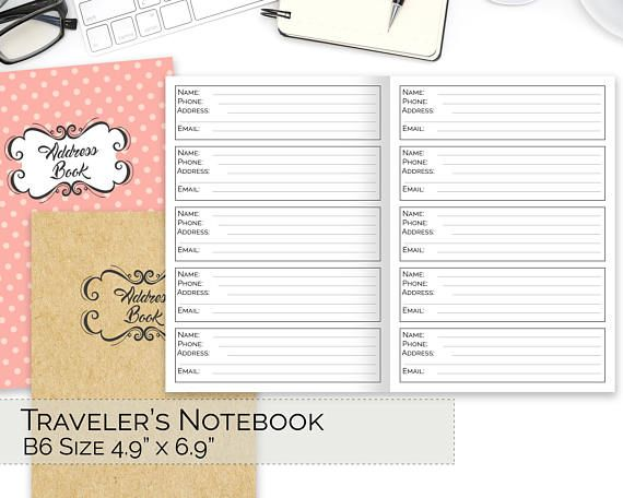 B6 TN Inserts, Traveler\u0027s Notebook Printable, Address Book, Business