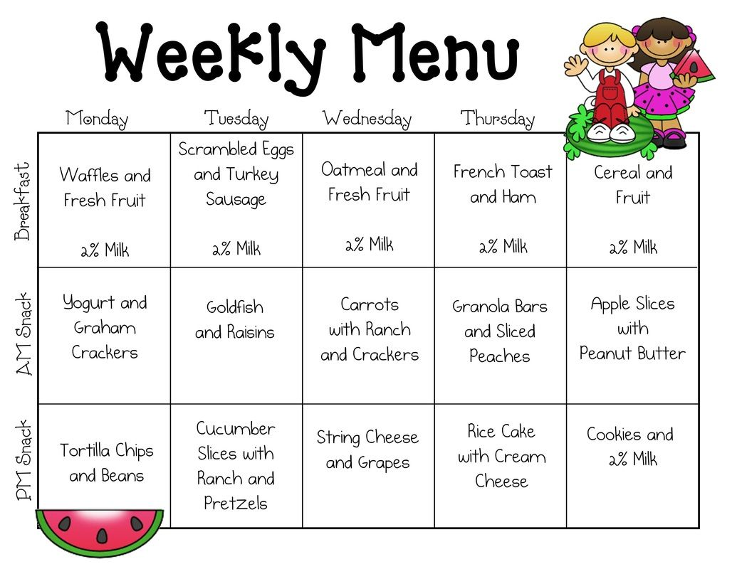 Kids breakfast menu calendar sample menus our place for Daycare food menu template