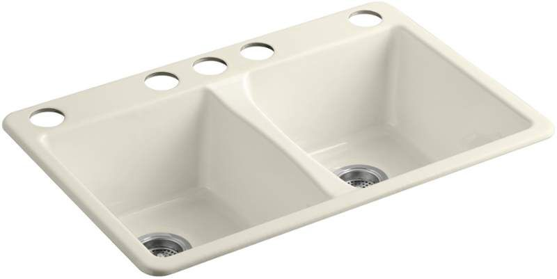 """View the Kohler K-5873-5U Deerfield 33"""" Double Basin Under-Mount Enameled Cast-Iron Kitchen Sink  at FaucetDirect.com."""