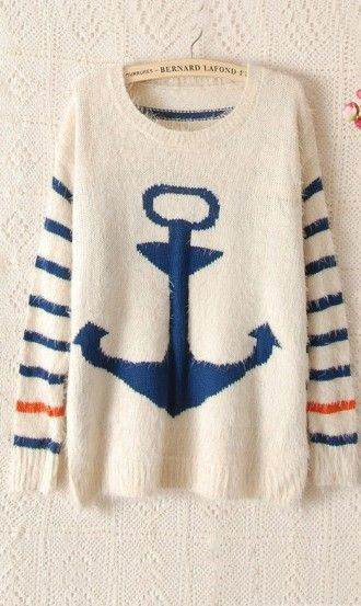 Navy wind anchor stripe mohair knitted pullover sweater blue. cute