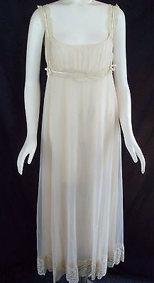 Vtg-50s-ROMANTIC-Shelf-Bust-Victorian-Look-SWEEPING-Double-Layer-Nylon-Nightgown