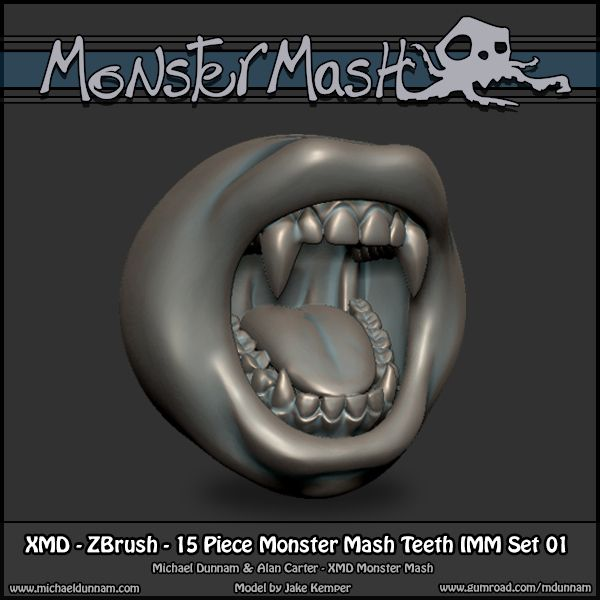 Monster Mash - ZBrush Brushes - IMM Teeth Set 01 | ZBrush