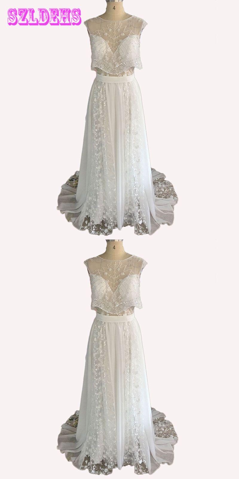 lihi hod two pieces wedding dress sweetheart cap sleeve pearls