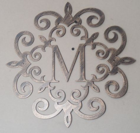 Metal Monogram Letters Wall Art Family Initial Monogram Antique Look Any Letter Available
