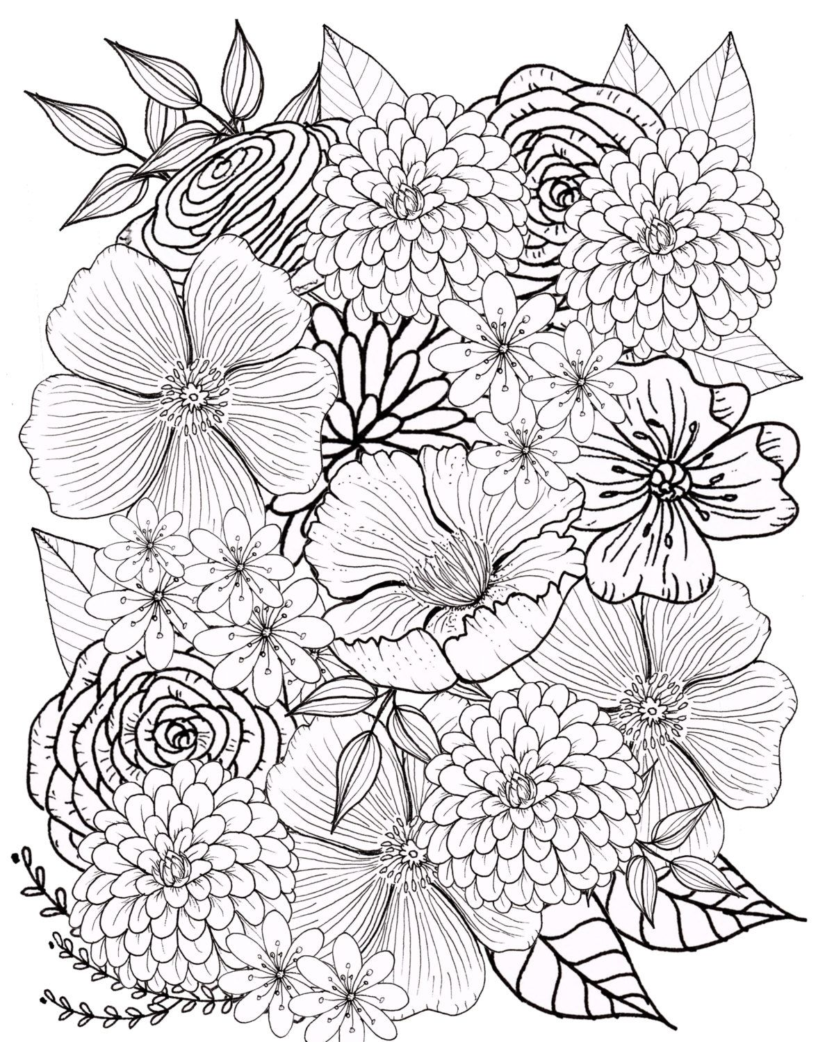 Flower Coloring Page Floral Coloring Page Adult Coloring Page