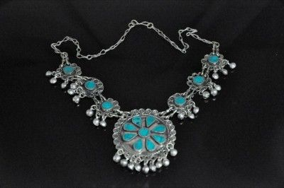 Old tribe kuchi turquoise & silver necklace, Afghan.