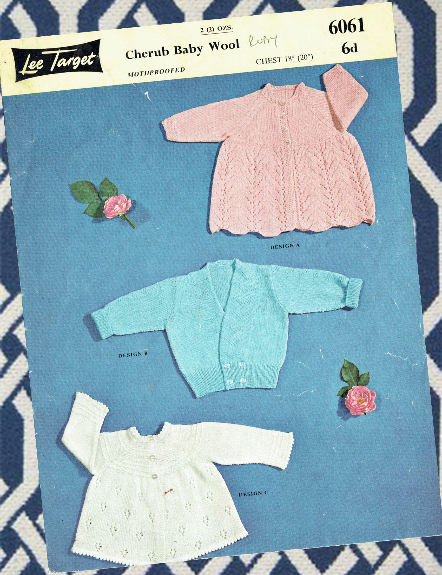 Original Vintage Baby Knitting Pattern 1950s Lee Target 6061 Pretty ...