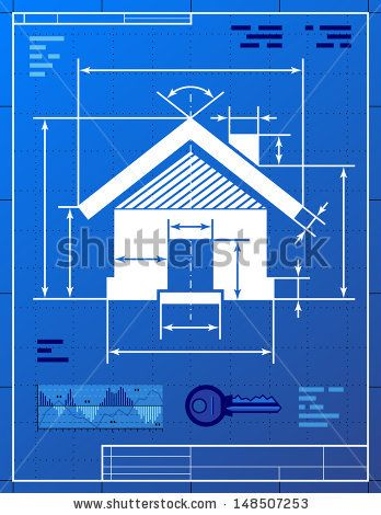 Home Symbol Like Blueprint Drawing Stylized Drawing Of