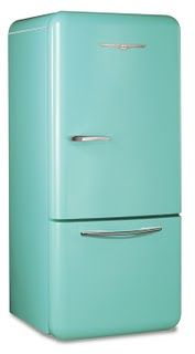 Love this color. Didn't Rachael Ray change her fridge to a different shade of blue? I need to find that one. This one's from Elmira Stove Works, $4,195
