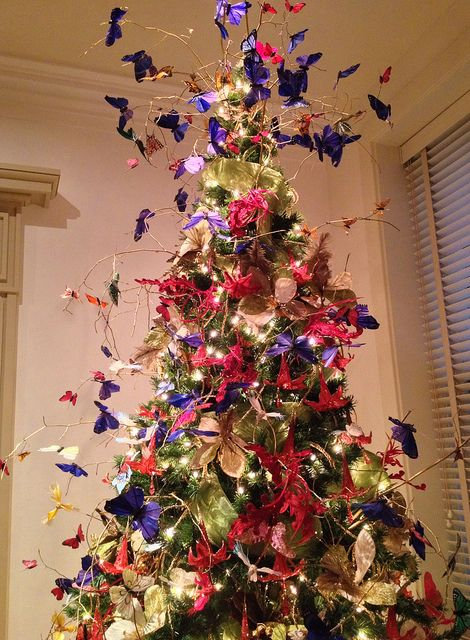 Butterflies on the Christmas tree Christmas tree and Butterfly
