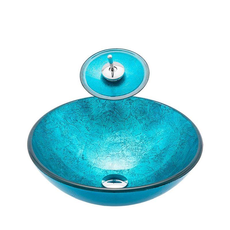 Vasque Moderne En Verre Trempe Bleue Ronde D 42 Cm Avec Robinet