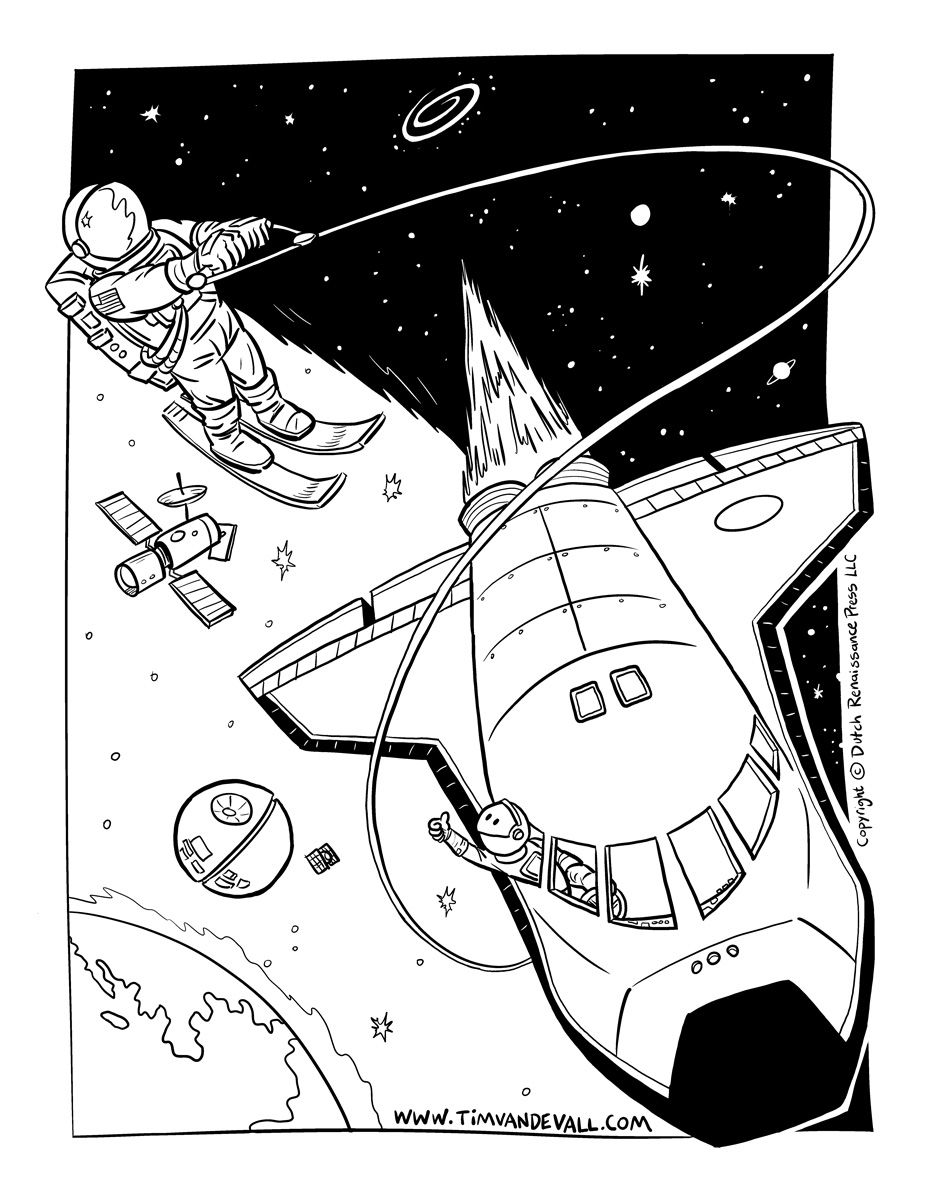 astronaut space skiing coloring pagejpg 9271200 - Space Shuttle Coloring Pages 2