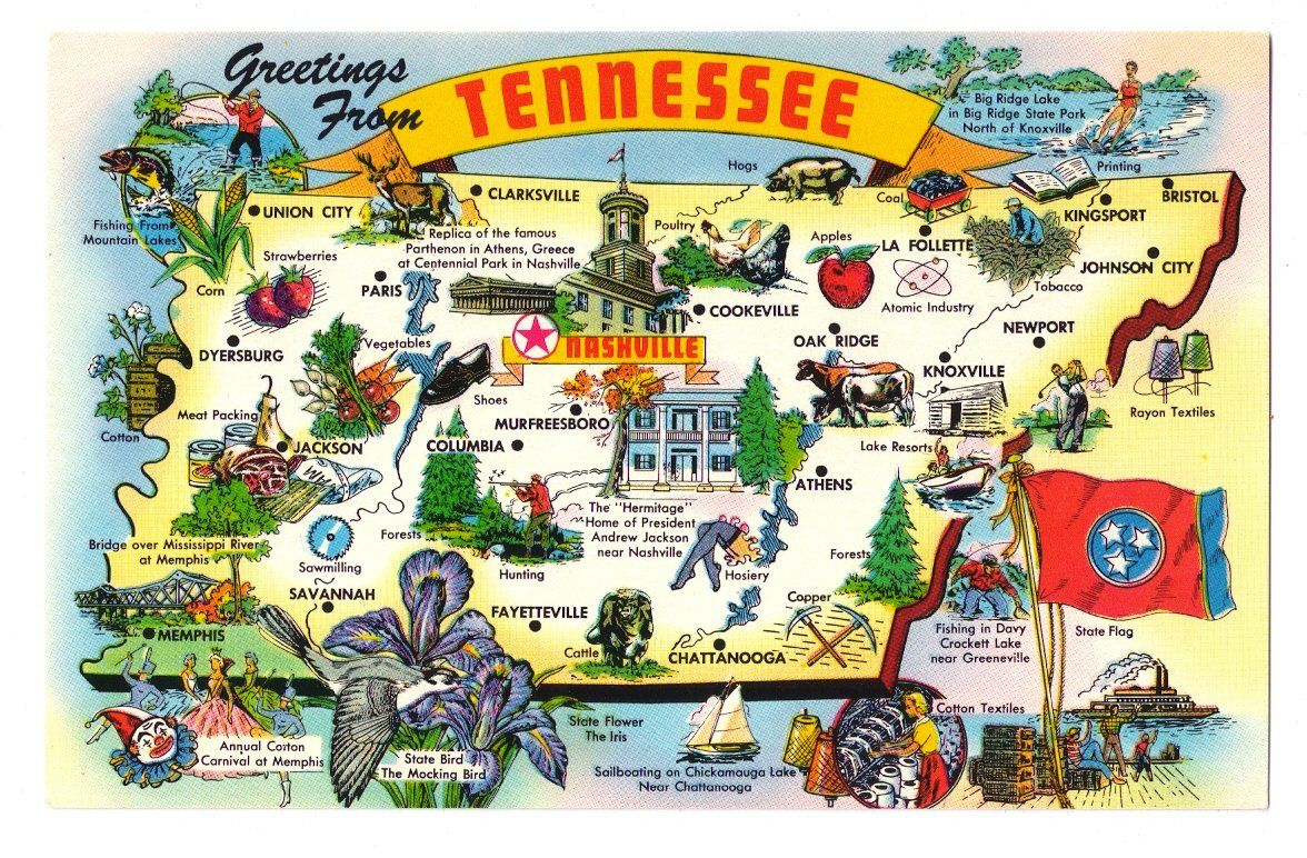 Greetings+Tennessee+State+Map+Cities+Attractions+Industry+Vtg+ ... on louisville ky map, greeneville tn map, baton rouge la map, richmond va map, alabama tn map, athens ga map, gainesboro tn map, coalfield tn map, west tn river map, knoxville tennessee, great smoky mountains tn map, tallahassee fl map, mt carmel tn map, university of memphis tn map, raleigh nc map, smith co tn map, nashville tennessee usa map, jackson tn map, tn county map, abingdon tn map,