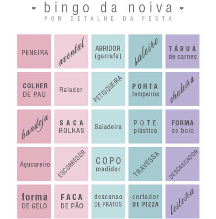 Chás bingo para casamento  952b382ec17
