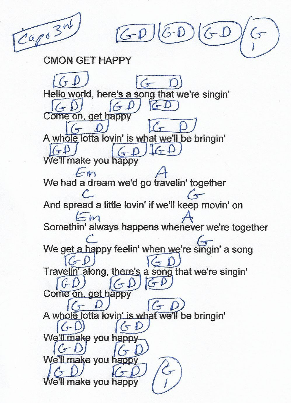 Cmon Get Happy The Partridge Family Guitar Chord Chart Capo 3rd