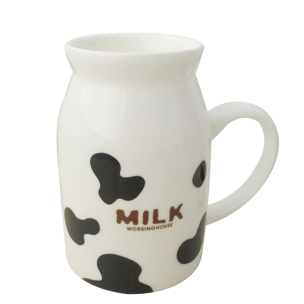 Umi cartoon cow decorative pattern ceramic cup milk cup glass milk ...