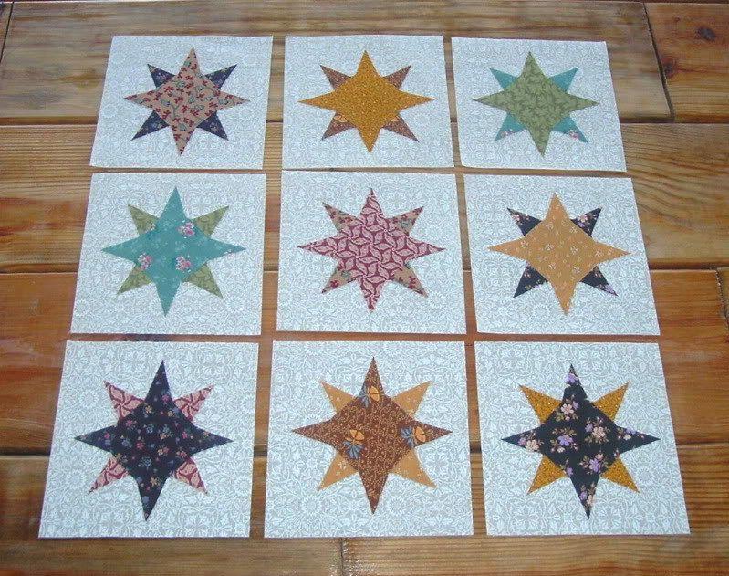 9 Prim Colors Galaxy Star  Quilt  Blocks. $13.95, via Etsy.