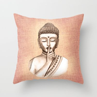Buddha Shh Do Not Disturb Colored Version Throw Pillow By Vanya Inspiration Buddha Decorative Pillows