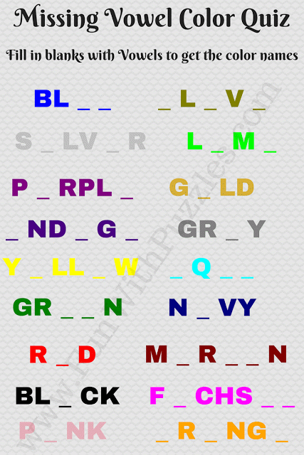 Missing Vowels Game Can You Guess The Colors Color Quiz Brain Teasers Brain Teasers With Answers