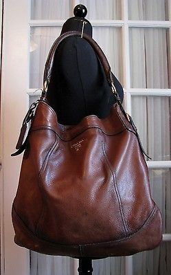 Authentic Prada Deerskin Antik Cervo Brown Leather Hobo Bag Clothing Shoes Accessories