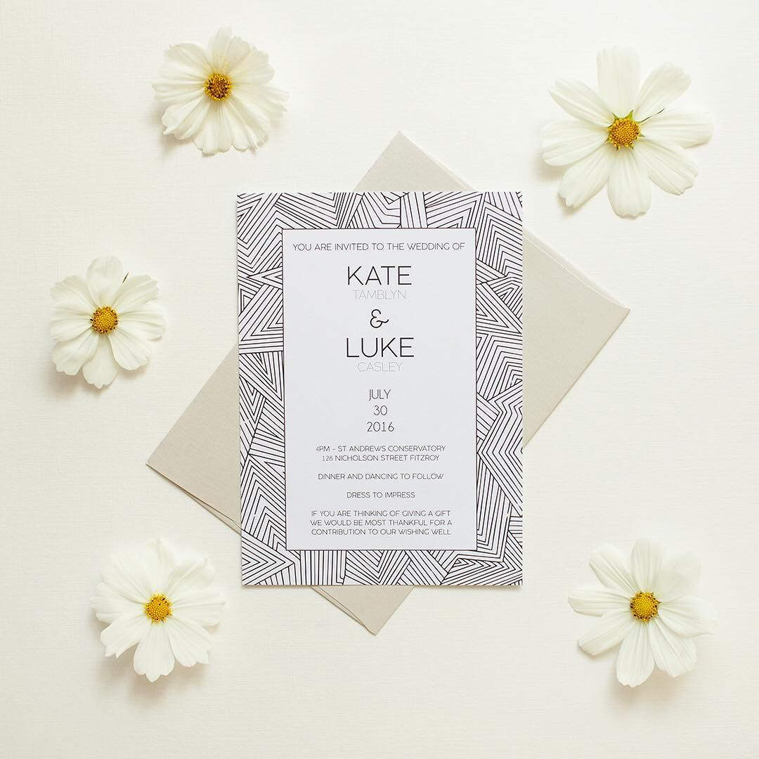 Playful meets elegant in this zentangle-patterned #weddinginvitation ...