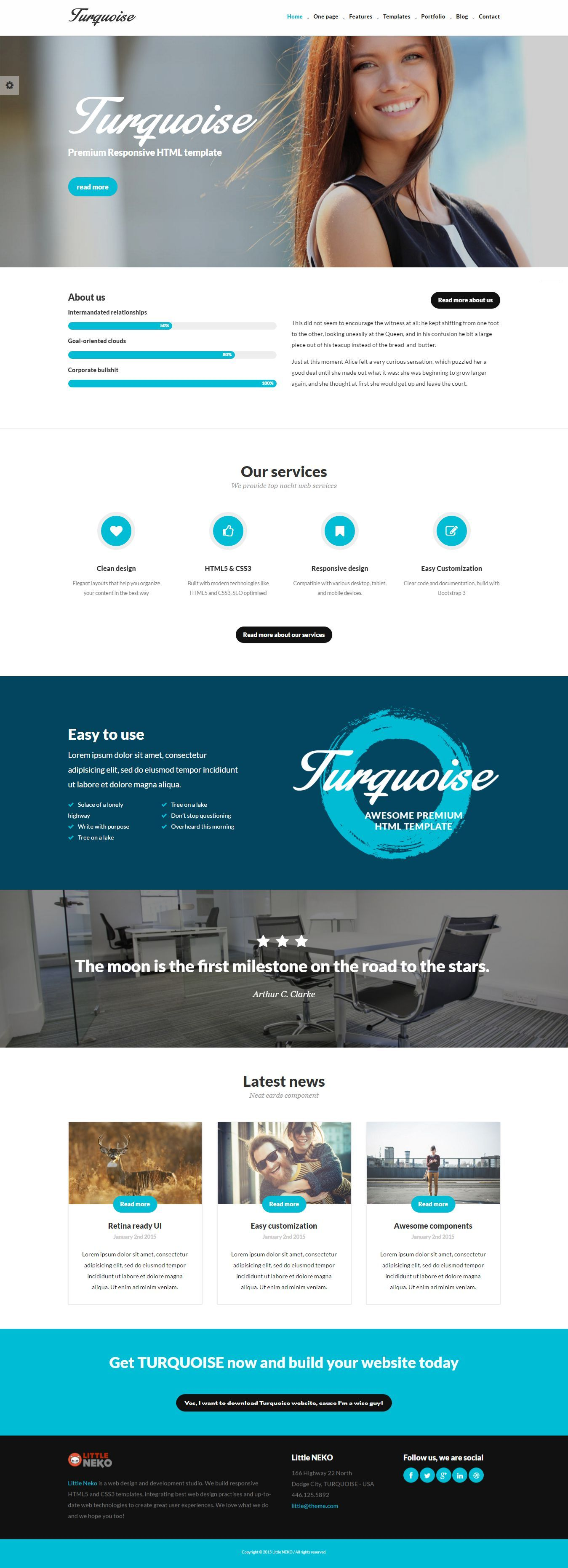 TURQUOISE HTML5 Bootstrap Business & Corporate Website Template ...