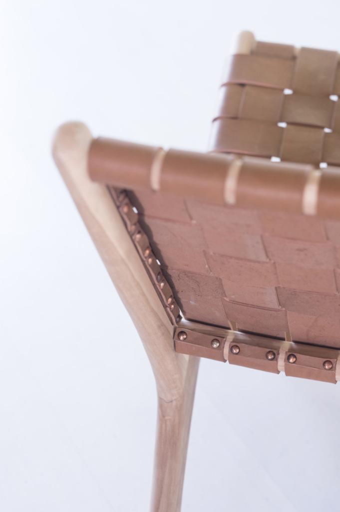 Woven Leather Strap Lounge Chair Saddle S P F U R N I T U R E