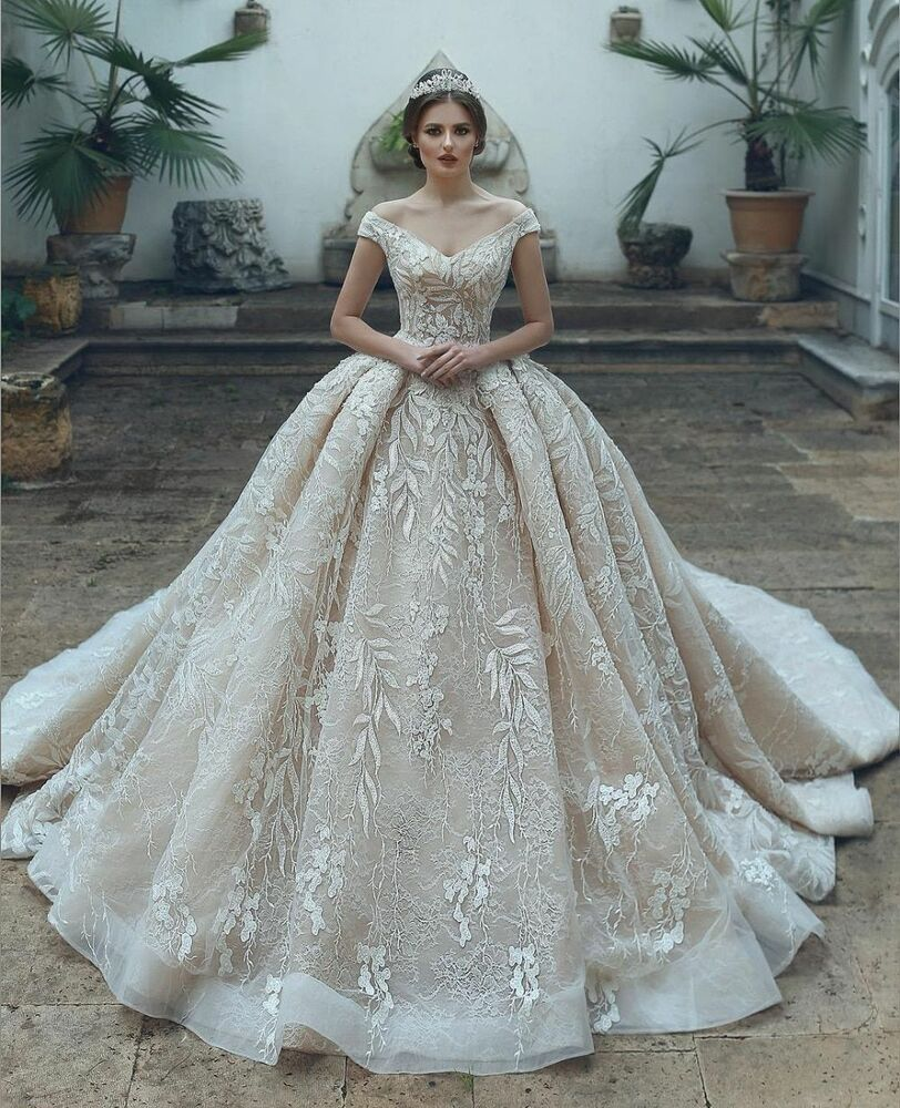 Bride Wedding Dresses Lace Beaded Elegant High End Sleeveless Floor Length Gowns Ebay Ball Gowns Wedding Ball Gown Wedding Dress Princess Wedding Dresses [ 1000 x 812 Pixel ]