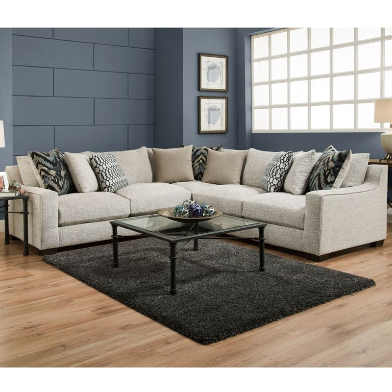 Emory Platinum Chenille Plush Oversize Sectional Weekends Only