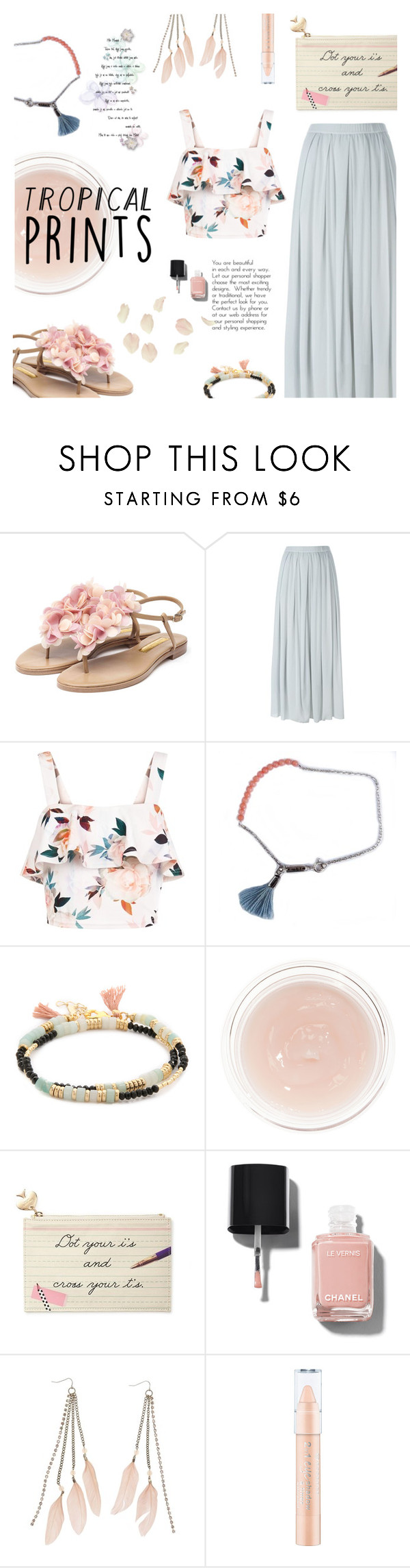 """Untitled #570"" by millilolly ❤ liked on Polyvore featuring Rupert Sanderson, KristenseN du Nord, New Look, Lennebelle, Shashi, Charlotte Tilbury, Kate Spade, Chanel, Charlotte Russe and tropicalprints"