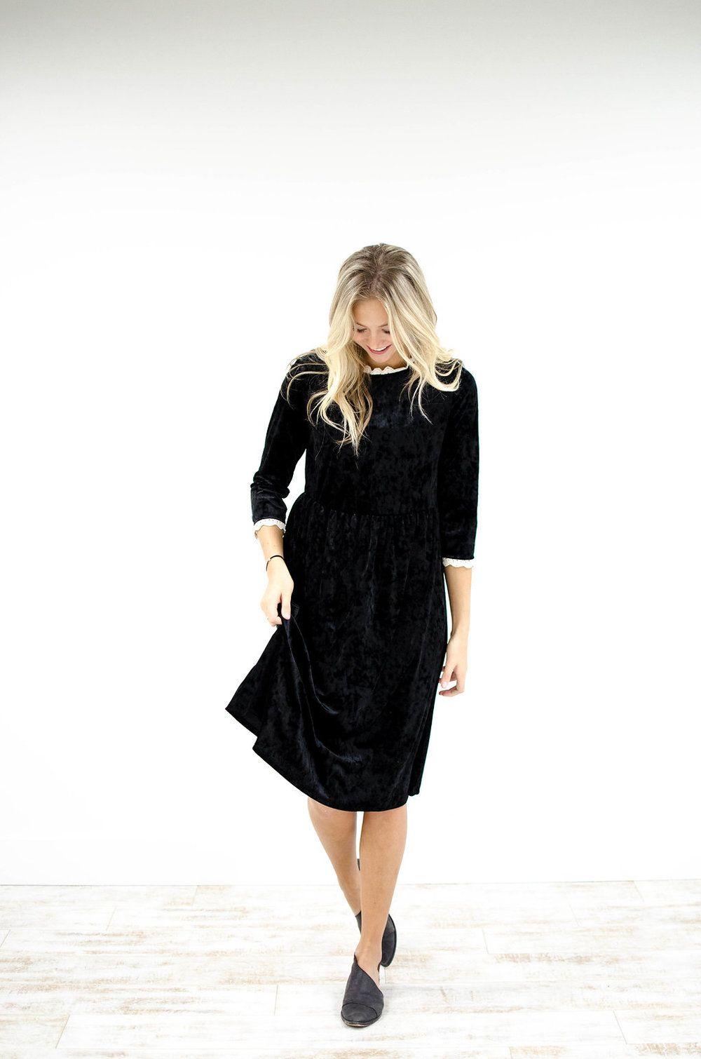 Black velvet dress cream lace detail high ruffled neck long sleeved
