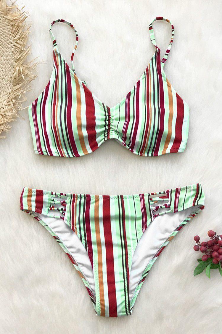 9d053da70e Cupshe - Live Life On The Beach | Bikini sets | Bikinis, Striped ...