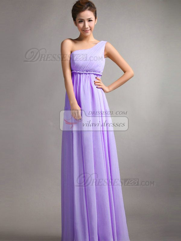 A-Line One Shoulder Floor Length Draped Lilac Bridesmaid Dresses ...