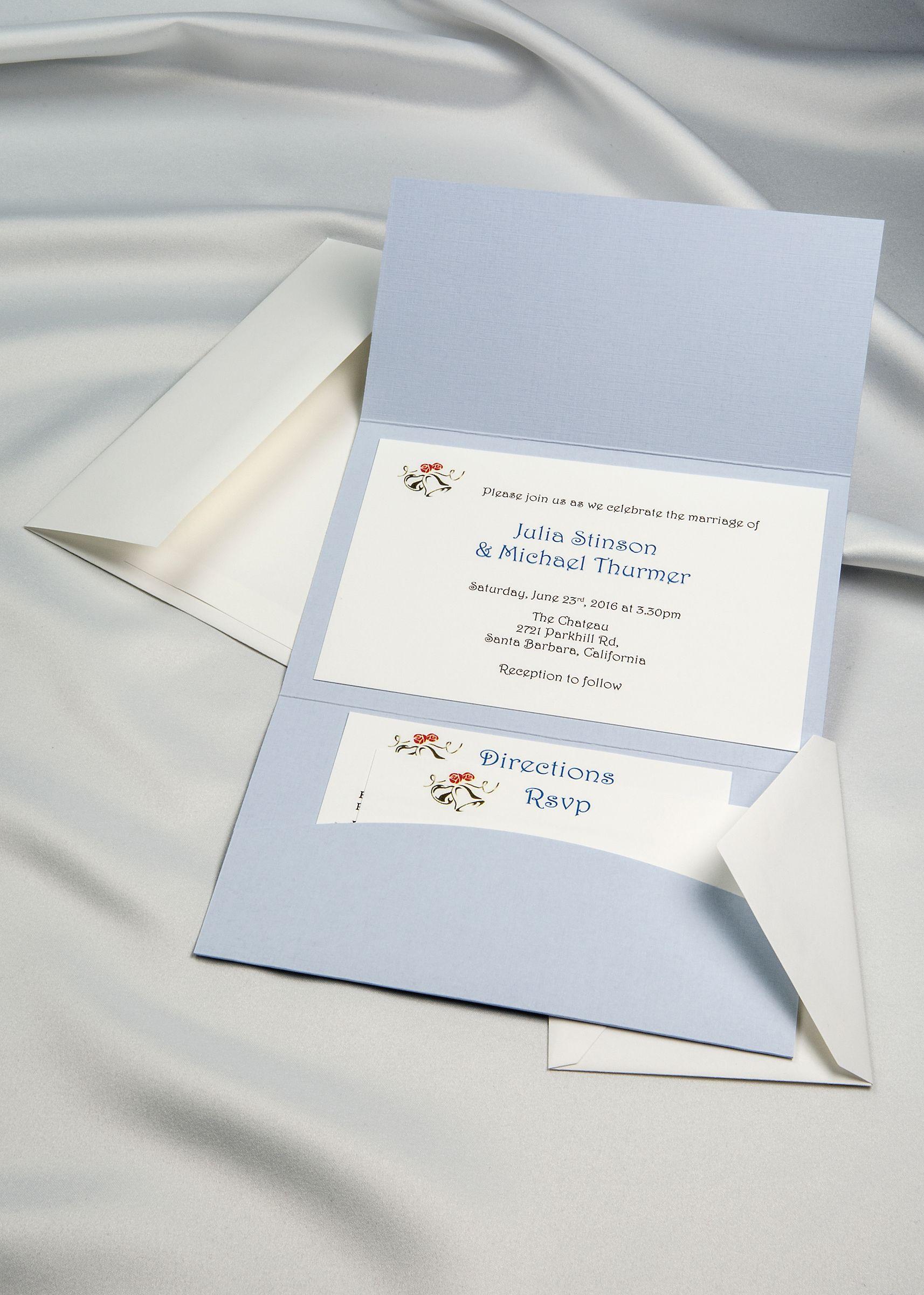 Light blue horizon pocket folder with white invitation cards and horizon pocket folder invitation kit light blue pack of 20 monicamarmolfo Gallery