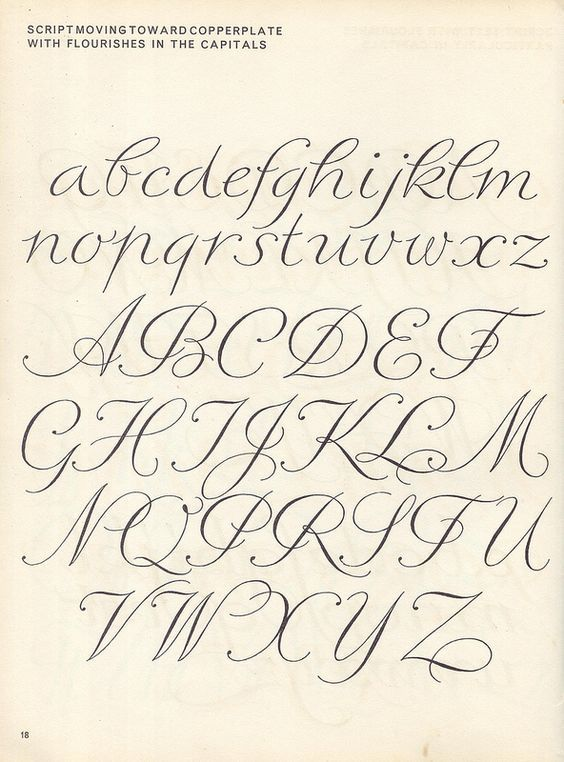 vintage script alphabet ~ Script Lettering (1957), M Meijer - script writing