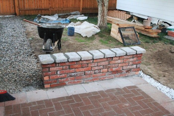 Diy Brick Seat Wall On Patio Fire Pit Pergola, Outdoor Fire Pits, Fire Pit
