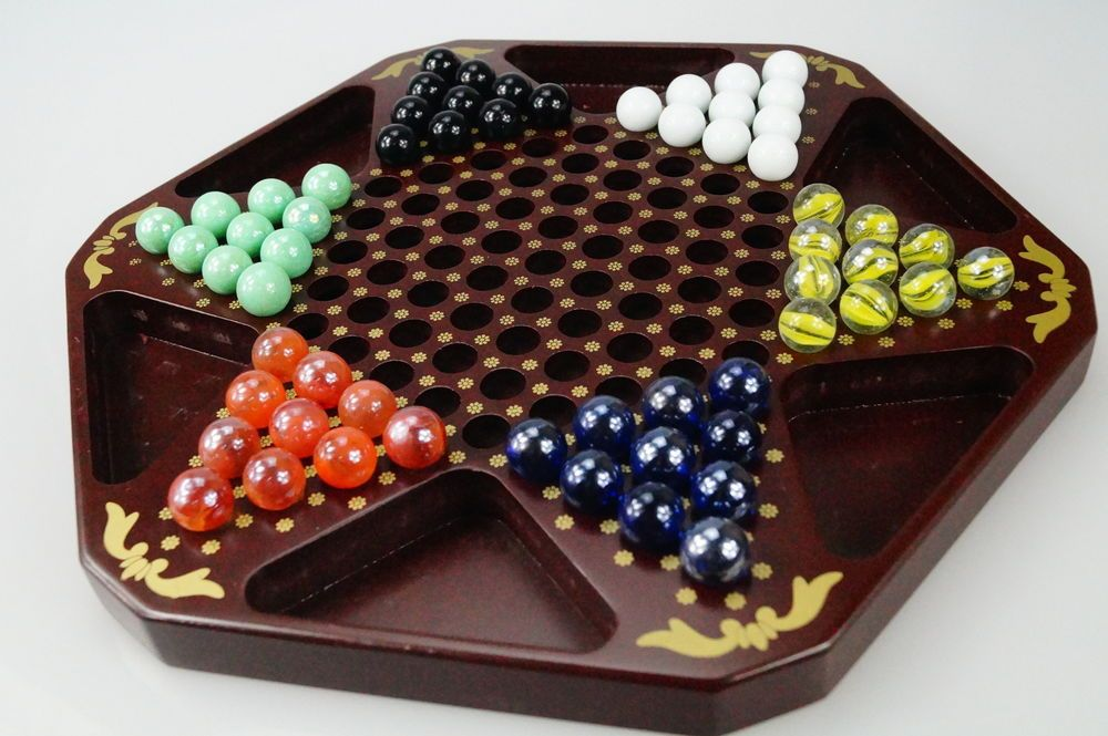 Details About Chinese Checkers 12 Wooden Chessboard Classic Marbles Family Game Set Diy