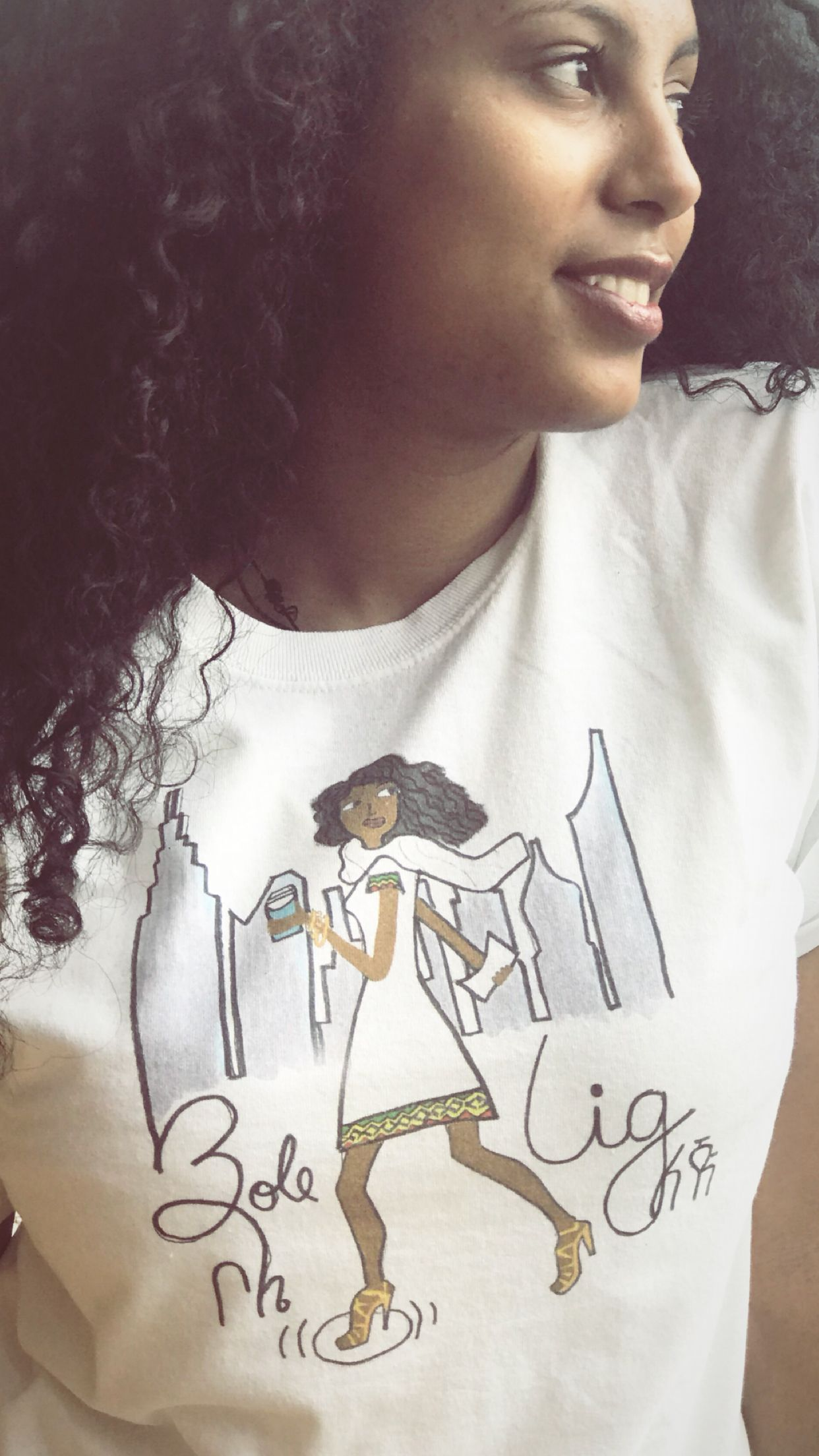 Illustration on T-shirt by Ethiopian artist! Bole Lig www.instagram ...