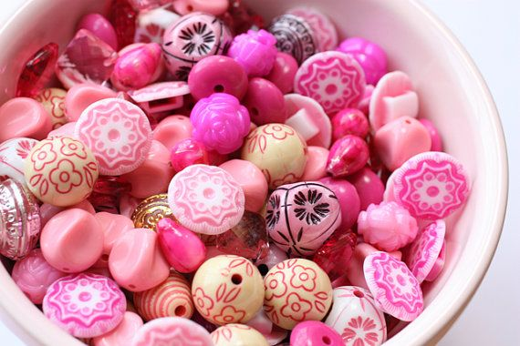 joy is a bowl of pink beads!