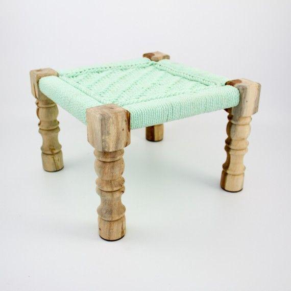 Petit tabouret charpoy vert d'eau- Bharata Design