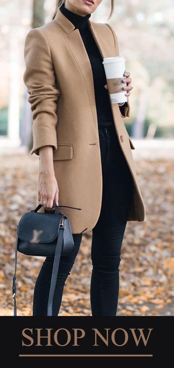 Solid Color Stand-Up Collar Pocket Coat #autumnwardrobe