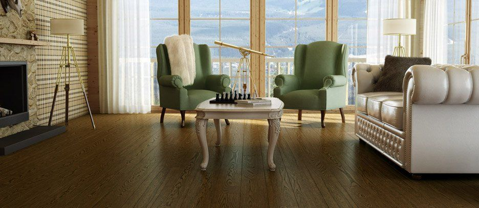 This country style Preverco hardwood flooring is a White
