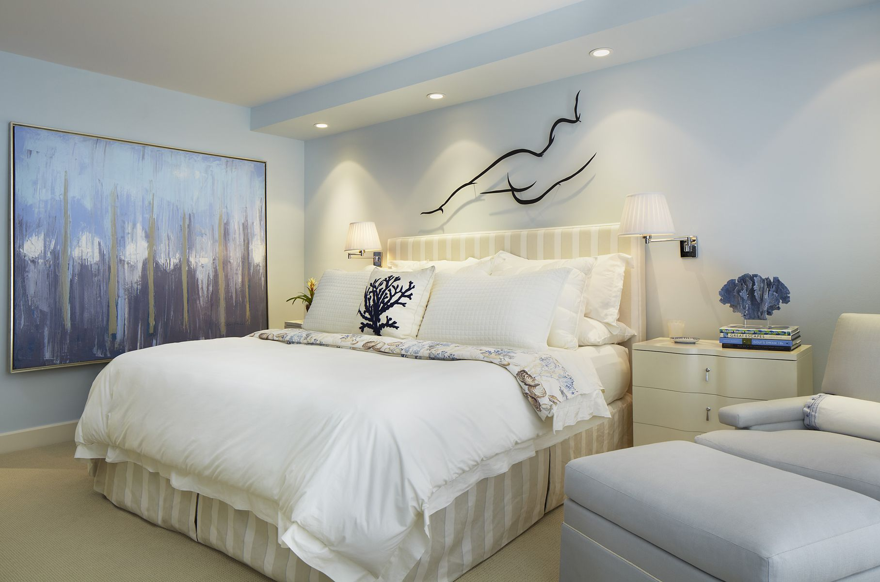 Master bedroom lighting  Pin by Annie Santulli Designs on Palm Beach Ocean View Apartment