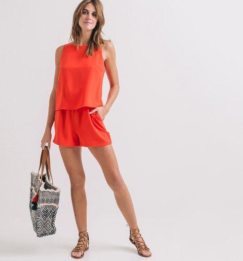 bfe10cfa1d Mono short liso rojo - Promod Pantalon Corto Mujer