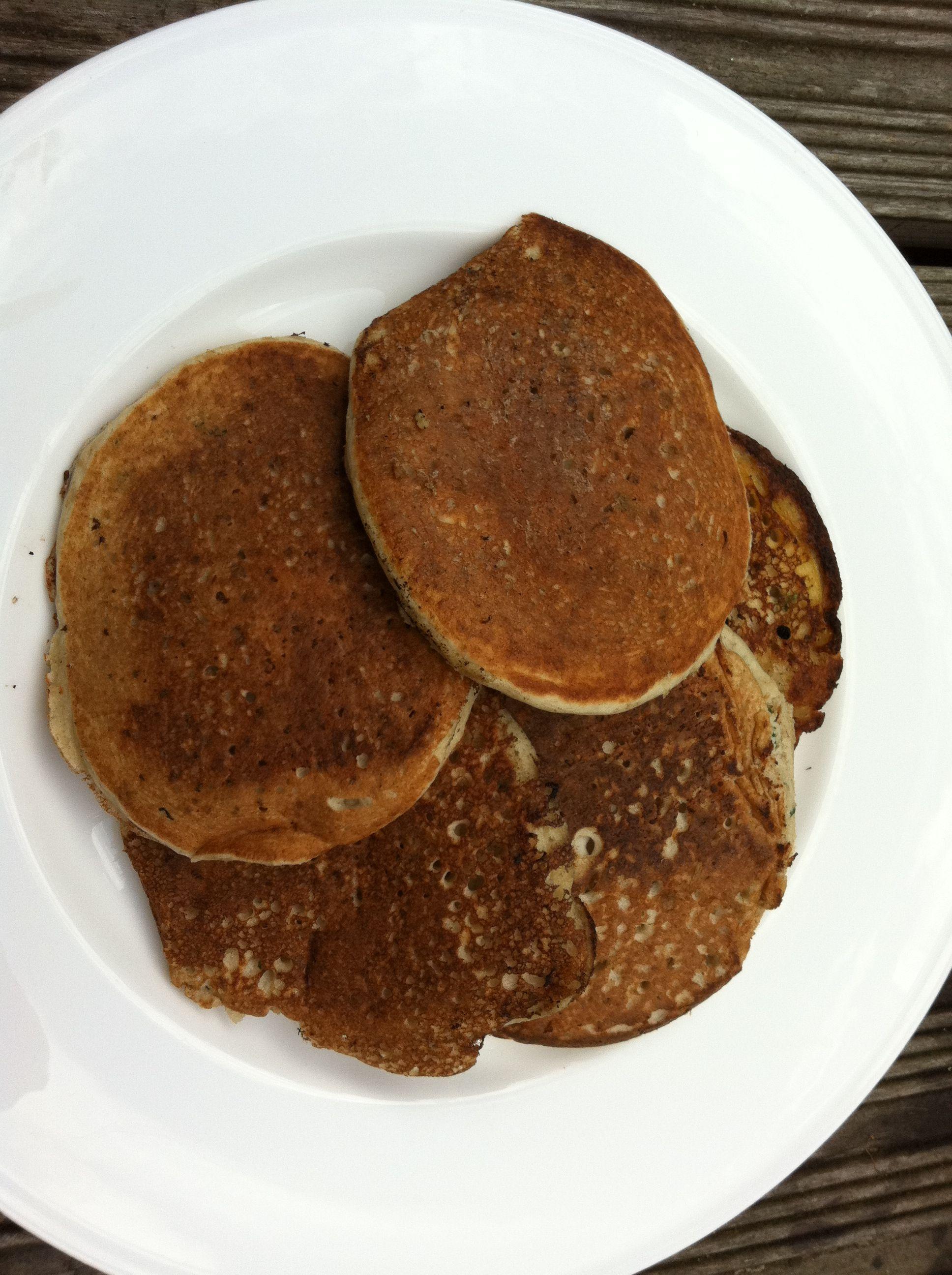 Oat and Buckwheat Pancakes: 50g rolled oats 350ml boiling water 75g natural yogurt 1/2 fast action yeast 200g buckwheat flour 1/2 tsp salt 2 medium free range eggs 1 tsp baking powder