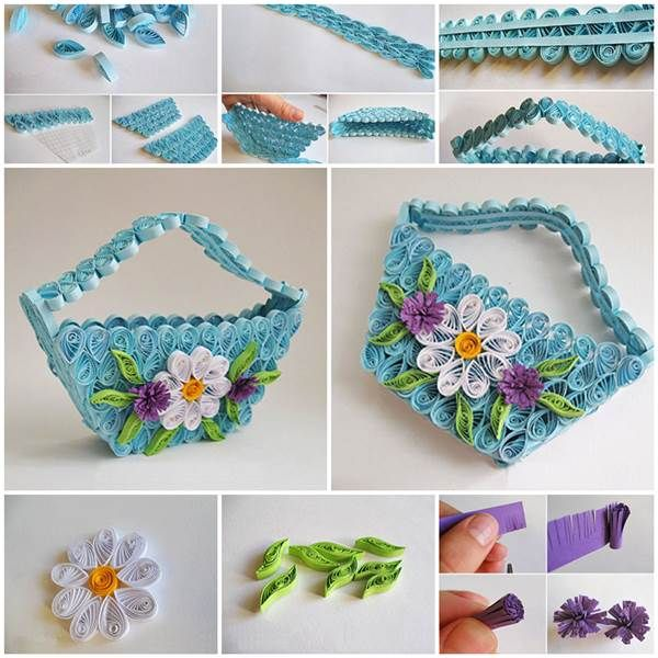 Diy Delicate Quilling Basket Quilling Craft Ideas And Crafts