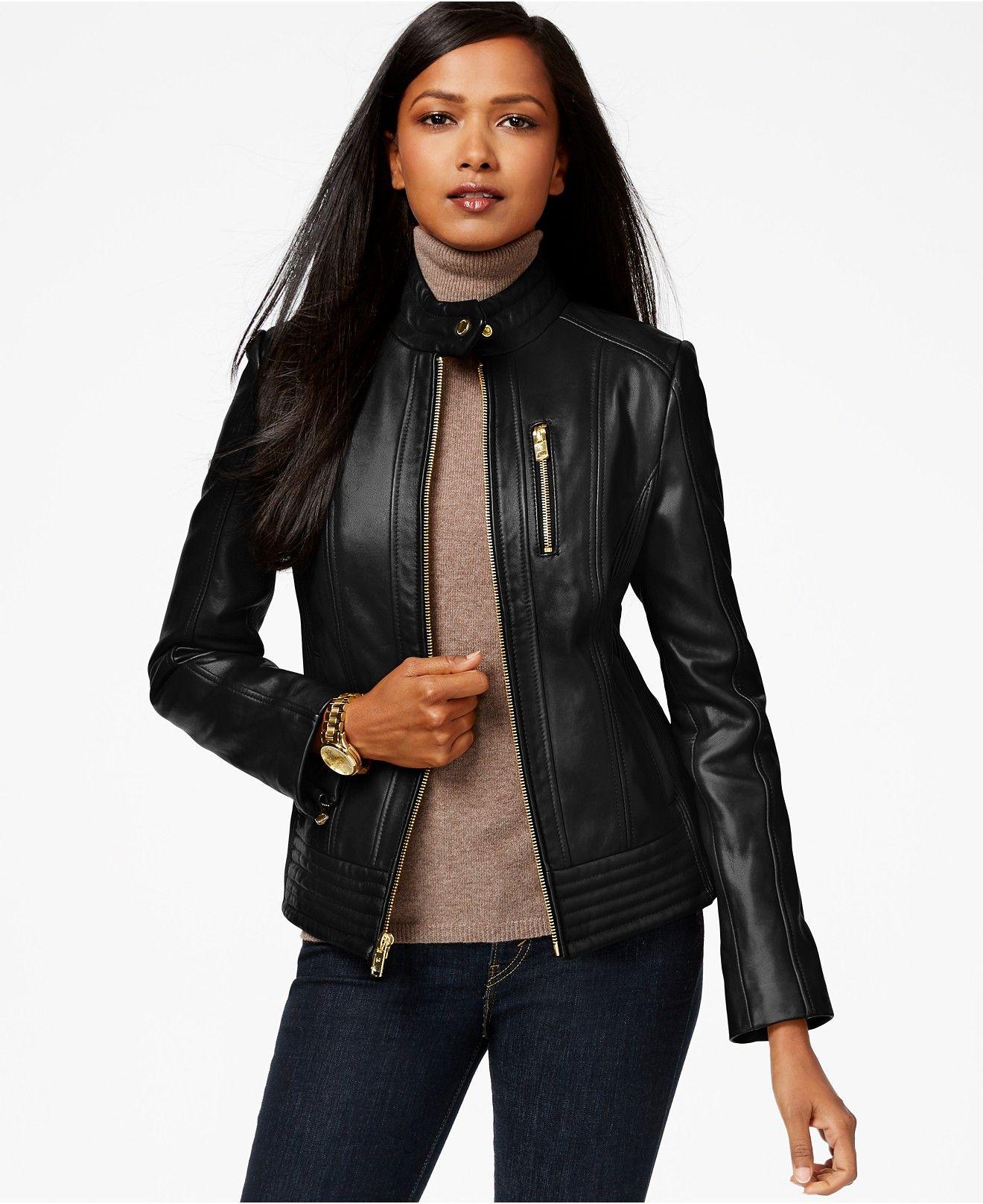 Michael Michael Kors Stand Collar Leather Jacket Jackets Blazers Women Macy S Leather Jacket Lamb Leather Jacket Collar Leather Jacket [ 1616 x 1320 Pixel ]